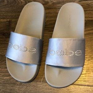 Bebe Slides with jeweled logo - new, never worn!